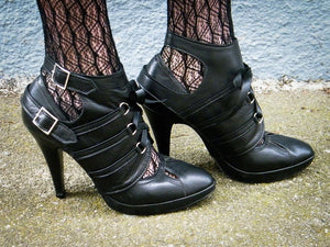Strappy leather spats with front lacing -Niobe