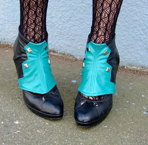 Spats -Teal and black leather with studs-Theia