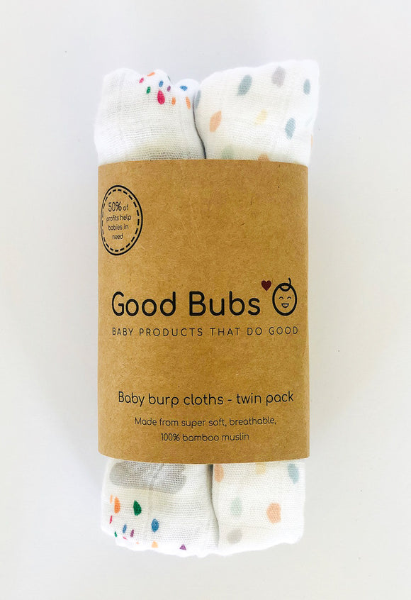 Burp Cloth Twin Pack (Rainbow & Speckles)