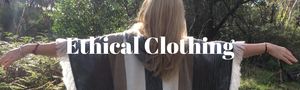 ethical clothing with a female back wearing a fair trade poncho