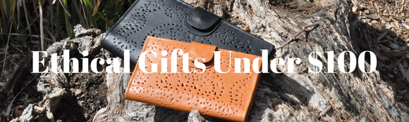ethical gifts under $100 with a brown and black fair trade wallet purse