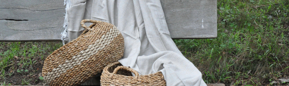 fair trade woven baskets and ethical throw rug blanket