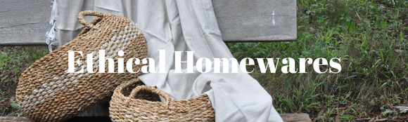 ethical homewares with fair trade two toned baskets and blanket throw rug
