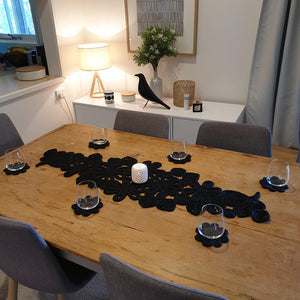 Leaf and Flower Jute Table Runner - Black - The Fair Trader