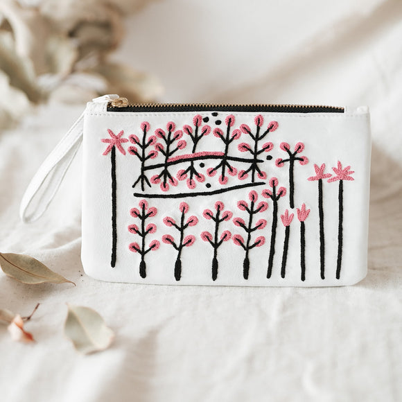 Rosie Nangala Flemming Pink Flowers Leather Clutch - The Fair Trader