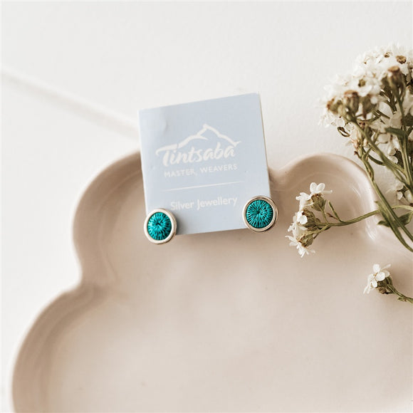 Mini Silver Stud Earrings - Emerald - The Fair Trader