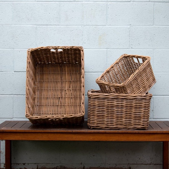 Kubu Rattan Rectangle Baskets - The Fair Trader