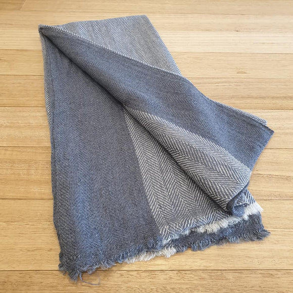 Herringbone Cashmere Pashmina - Mid Blue - The Fair Trader