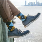Socks That Give Water - Argyle (Brown & Blue) - The Fair Trader