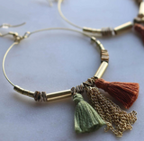 Upcycle Tassel Hoop Earrings - Sage & Terracotta