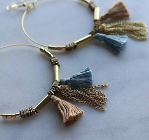 Upcycle Tassel Hoop Earrings - Gold & Sky Blue