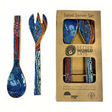 Indigenous Art Salad Server Set Wooden - Julie Woods 'Two Sisters' Blue - The Fair Trader