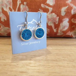 Mini Silver Hanging Earrings - Turquoise