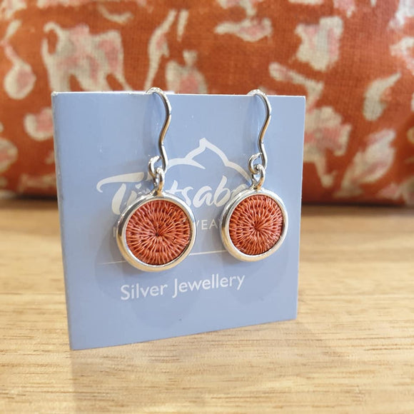 Mini Silver Hanging Earrings - Coral - The Fair Trader