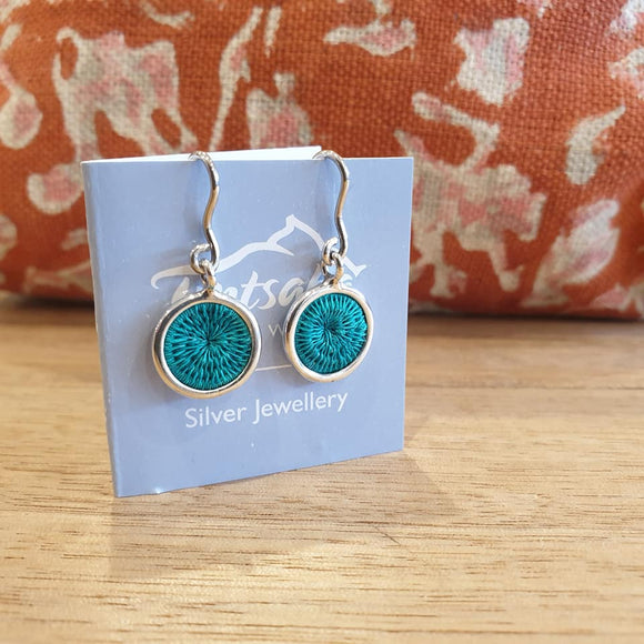 Mini Silver Hanging Earrings - Jade