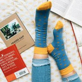 Socks That Give Books - Light Blue & Yellow Dots - The Fair Trader