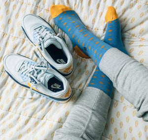 Socks That Give Books - Light Blue & Yellow Dots