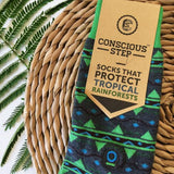 Conscious step socks that protect tropical rainforests