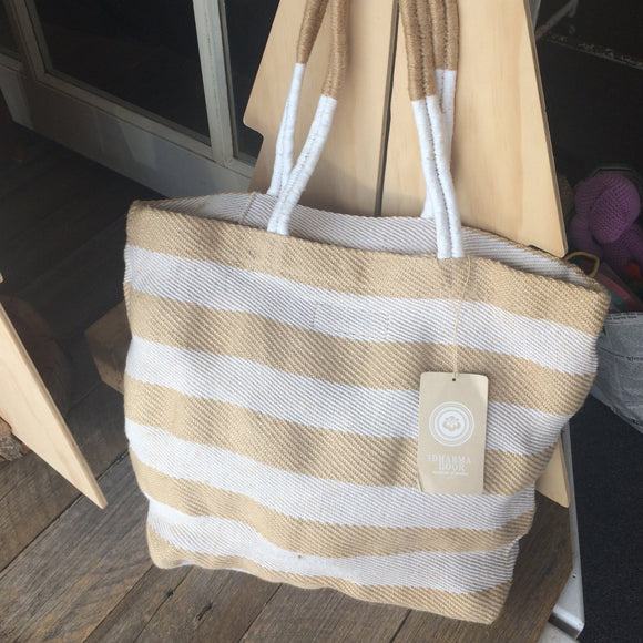 Pacific Shopper Bag - Natural and White