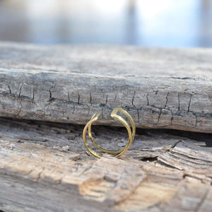Double Square Brass Ring
