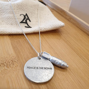 Peace is the Bomb Jewelgram Necklace