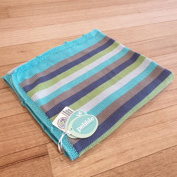 Organic Crochet Edge Baby Blanket - Blue Stripes