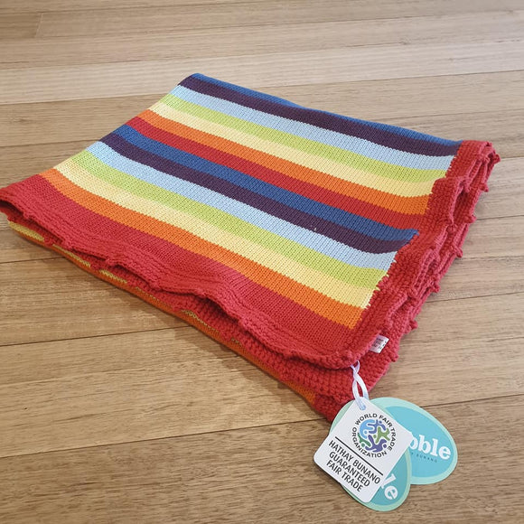 Crochet Edge Baby Blanket - Rainbow Multi - The Fair Trader