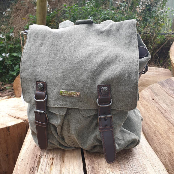 Sativa 'Cadet' Hemp Shoulder Bag / Backpack - Khaki - The Fair Trader