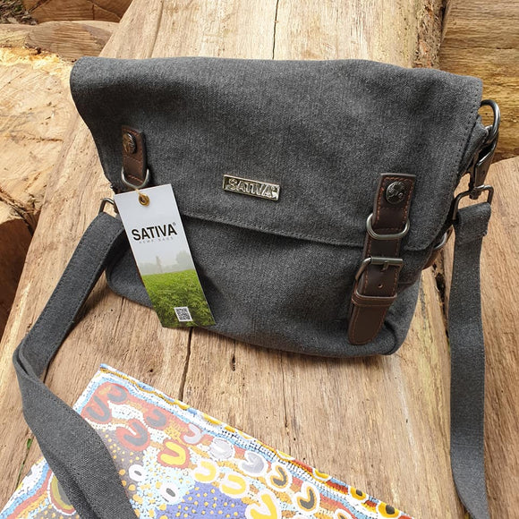 Sativa 'Dispatch' Hemp Shoulder Bag - Grey - The Fair Trader