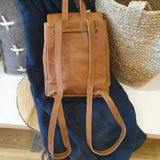 Mini Foldover Leather Backpack