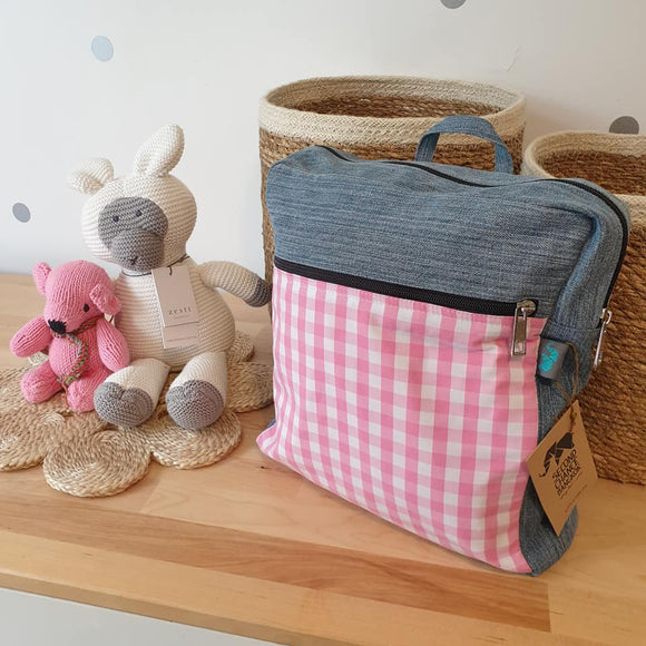 Upcycled Fabric Backpack - Pink Gingham - The Fair Trader