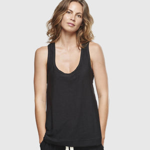 Slub Singlet - Black - The Fair Trader
