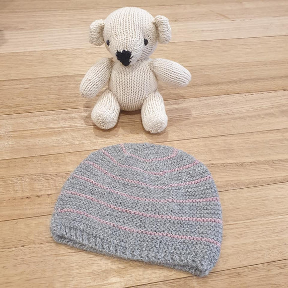 Alpaca Baby Beanie - Grey w/ Pink Stripe - The Fair Trader