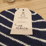 Alpaca Baby Beanie - Navy Base w/ Cream Stripe - The Fair Trader
