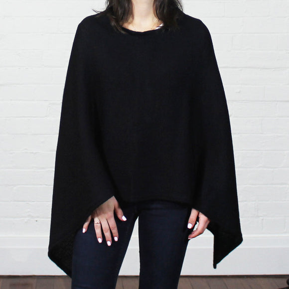 Alpaca Wool Poncho - Black - The Fair Trader