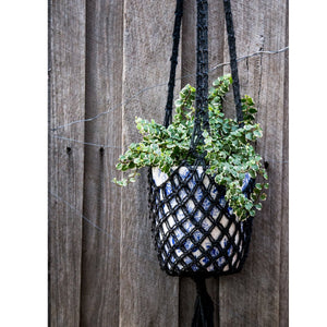 Josephine Macrame Pot Plant Hanger - Black - The Fair Trader