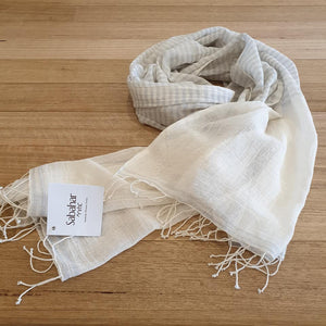 Ari 100% Cotton Shawls - Light Grey - The Fair Trader