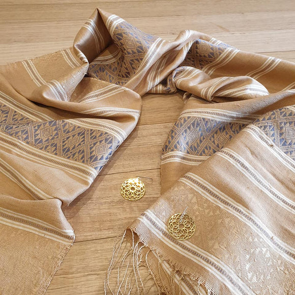 Laos Cotton & Silk Scarf - Beige - The Fair Trader