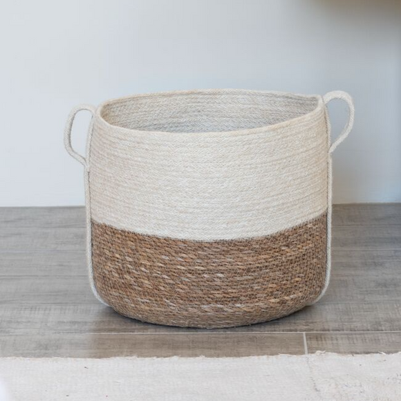 White Jute and Natural Seagrass Basket - The Fair Trader