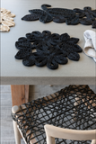 Leaf and Flower Jute Placemat - Black - The Fair Trader