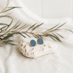 Coloured Brass Round Stud Earrings - Navy Blue