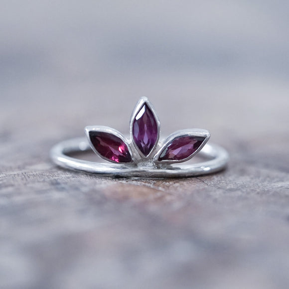 Marquise Garnet Crown Ring