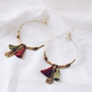 Upcycle Tassel Hoop Earrings - Sage & Terracotta - The Fair Trader