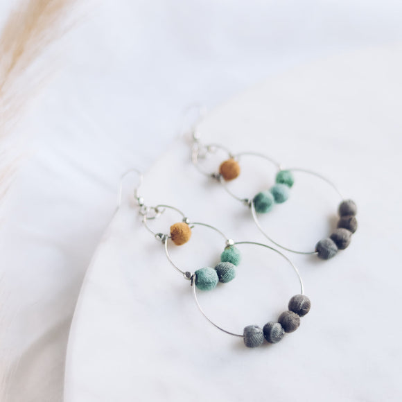 Upcycle Drop of Colour Earrings - Mint & Yellow
