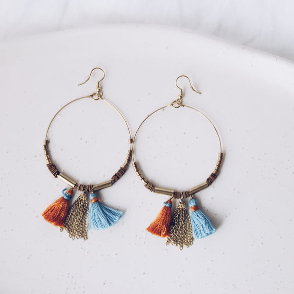 Upcycle Tassel Hoop Earrings - Ocre & Blue - The Fair Trader