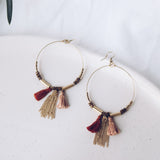 Upcycle Tassel Hoop Earrings - Dusty Pink & Terracotta - The Fair Trader