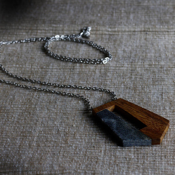 Wood and Dark Marble Pendant Necklace - The Fair Trader