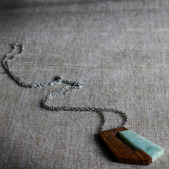 Wood and Light Marble Pendant Necklace - The Fair Trader