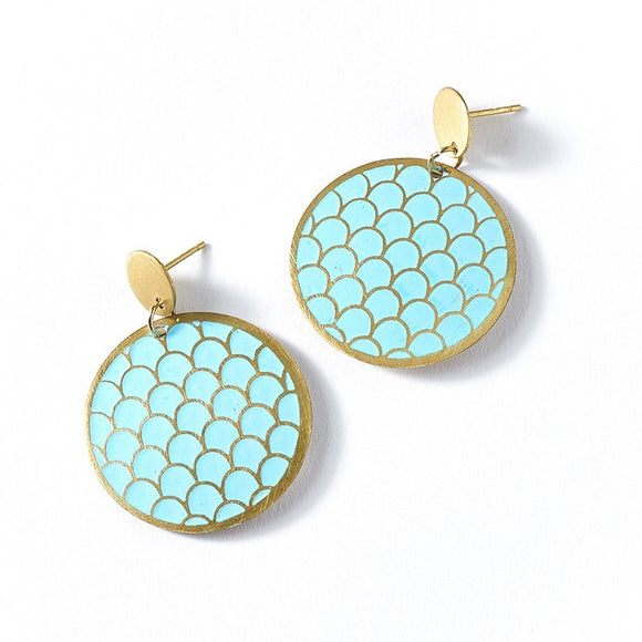 Dhavala Earrings - Teal Coin - The Fair Trader