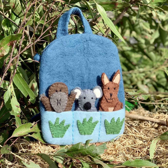 Australian Finger Puppet Felt Backpack - The Fair Trader